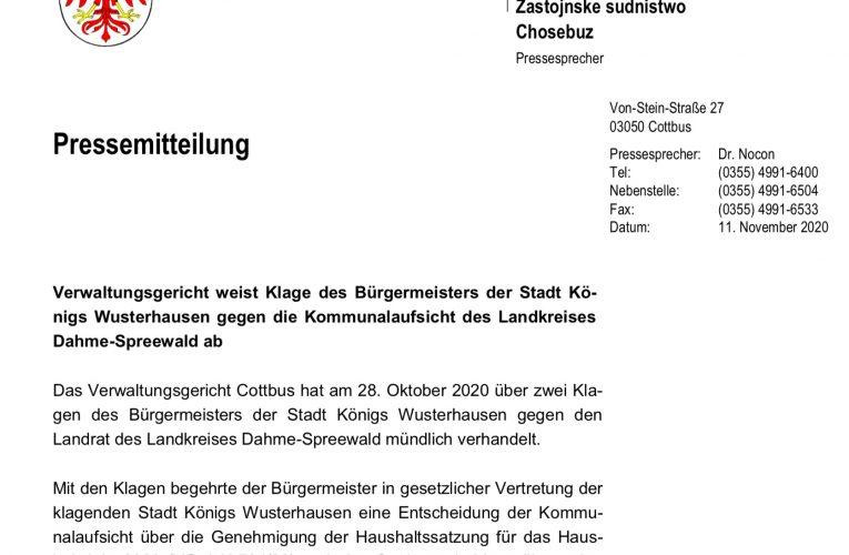 Verwaltungsgericht Cottbus zum Haushalt in KW