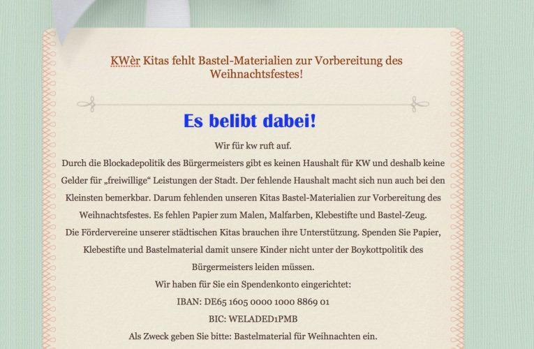 """Aufruf zu Spenden von Bastel- und Malutensilien und Klebestiften und die """"Richtigstellung"""" der Stadt !"""