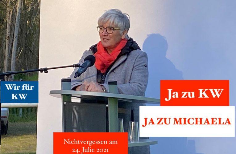 "Michaela Wieczorek als Bürgermeisterkandidatin des ""Bündnis 21 – Ja zu KW"""